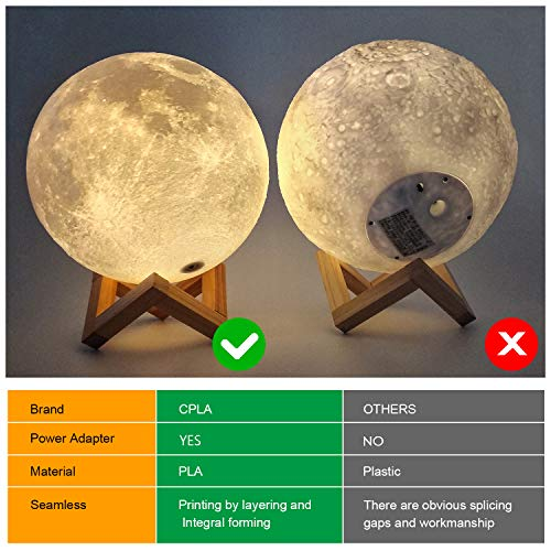 CPLA Moon Lamps Led Baby Night Light 3D Printing Dimmable 16 Colors with Remote and Slap Control, Rechargeable Lunar Night Light for Creative Gift 5.9 inch 16 Colors