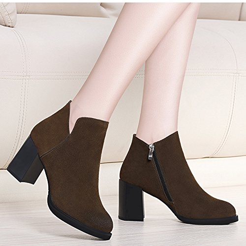 Heel five Velvet Shoes With Thirty And Girls Leather Boots KHSKX Winter High wFP8AA