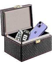 JXE JXO Faraday Key Fob Protector Box, Car Key Signal Blocker, RFID Signal Blocking Case Shielding Pouch PU Leather Car Key Wallet Case