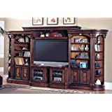 6 Pc Library Wall/Entertainment Center with Chestnut Finish
