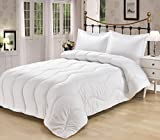 Premium White Goose Down Alternative Embossed Overfilled Comforter Duvet Insert 4 Corner Tabs -100% Hypoallergenic With Poly Fiber Filling - Wave Double Stitching Design (Flower embossed, Full/Queen)