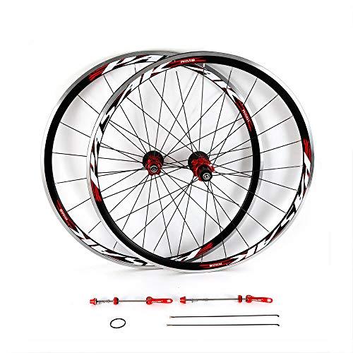 RANZHIX-US 700c Road CX Bike Wheelset 2 Pcs Ultra-Light Aluminum Alloy Bicycle Bike Wheel Set 30mm Rim Sealed Bearing Carbon Fiber Wheelset for 7/8/9/10/11 Speed Freewheel Set