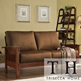 Loveseat Furniture Solid Wood Frame with Dark Oak Finish Modern Sofa. The Couch Is Contemporary Living Room, Office Furniture Featuring Soft, Rust-colored Microfiber Fabric. Elegant, Comfortable Durable Sofas and Dorm Room Couches.