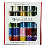 Sew Complete by Superior Threads - 25 Assorted Colors of 50 wt All-Purpose Polyester Sewing and Quilting Thread in a Gorgeous 25-Color Palette of 300 Yard Spools