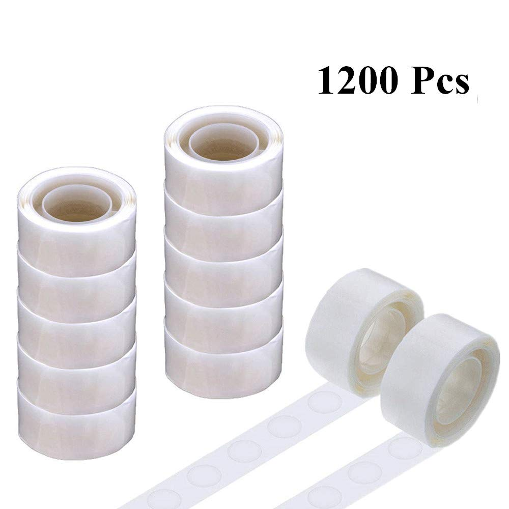 1200Pcs Balloon Glue Point Dots Tape Double Sided Adhesive Non-Liquid Craft 13mm Glue Points for Homemade Arts DIY Projects, 12 Rolls by VLFriday