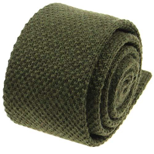 (Mens Solid Knitted Wool Tie -100% Woolen Skinny Necktie-Various Colors (Olive Green))