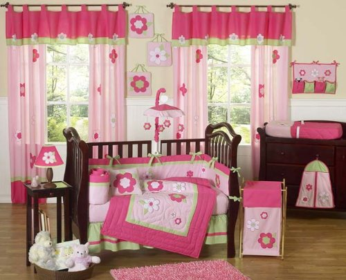 Sweet Jojo Designs Pink and Green Flower Collection Musical Crib Mobile
