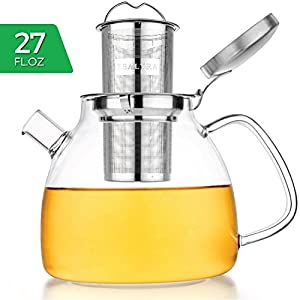 Tealyra - Tempered Glass Teapot – Borosilicate Clear Glass Teapot with Removable Stainless Steel Infuser - Stove Top Safe Glass Teapot Kettle - Best Loose Leaf Teapot (27oz teapot / 800 ml)