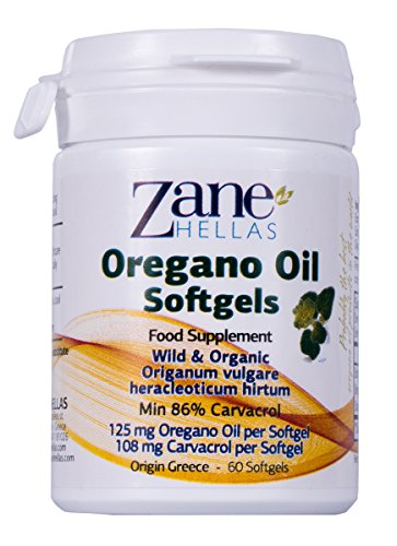 Zane Hellas Oregano Oil Softgels. Concentrate 4:1 Provides 108 mg Carvacrol per Serving. 60 Softgels- Capsules...