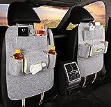 Muiti-function Car Seat Organizer, 77A Permium Anti-kicking Mat Thick Felt Storage Bag for SUVs, MPVs. Cars and etc, 2pcs (light gray)