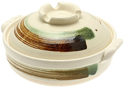 Kotobuki 190-973D Brushstroke Japanese Donabe Hot Pot, 11-1/2-Inch, White with Brown and Green by Kotobuki