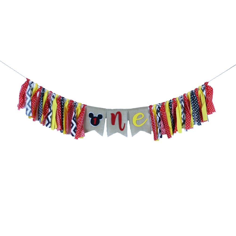 Mickey Mouse Highchair Banner for Baby First Birthday Party Supplies Highchair Decorations Photo Props Backdrop Decors
