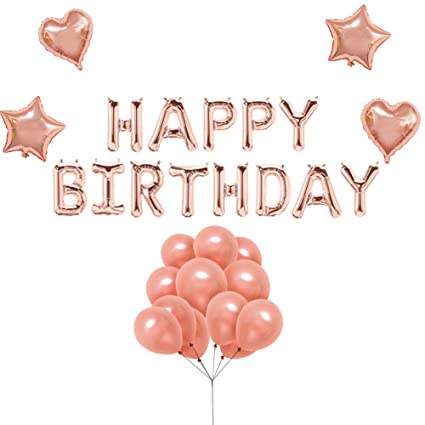 Uever Rose Gold Happy Birthday Balloons With Banner Foil Letter 4 Pcs
