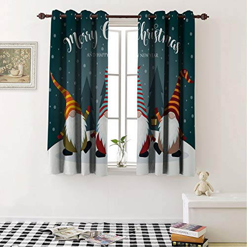 Mozenou Room Darkening Blackout Curtains Snow Merry Christmas and Happy New Year Typography Bearded Gnomes Doodle Characters Multicolor/Drapes/Panels for Dining Room 55 by 63 in (Gnome New Panel)