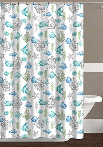 "Deep Sea Fabric Shower Curtain: Ocean Life Fish Theme, Teal Blue Green Grey White, 70"" x 72"" Inches - Bring the life and relaxation of the ocean home with these Ocean Life shower curtains. Add some Fun featuring Fish, Coral, Sea Stars (or Starfish!) Shells in bright colors. Material is 100% Polyester Cloth; Fabric is soft textured while loose and flowing. - shower-curtains, bathroom-linens, bathroom - 51DHilZlHrL -"