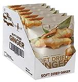 Amphora Soft Dried Ginger Chunks Bites Healthy Snack Fruits Vegan Kosher Gluten Free 4 Oz Each Boost Immune System ( Pack of 6)