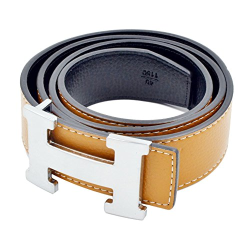 HG-products H-Style unisex Business Casual Belt [3.8CM] (Brown/Silver Buckle, 115CM [Waist 33''~35'']) by HG
