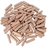 "100 Pack 3/8"" x 1 1/2"" Wooden Dowel Pins Multi Fluted and Beveled - Hardwood (10 mm x 40 mm)"