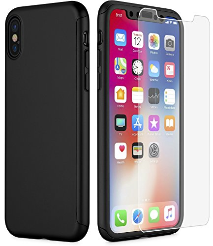 MYRIANN iPhone X Case,Dual Layer Textured Ultra Slim Shock Absorbent PC 360 Full-Body Drop Resistant Protection With Tempered Glass Screen...  iphone x cases 360 51DHj2sF3EL