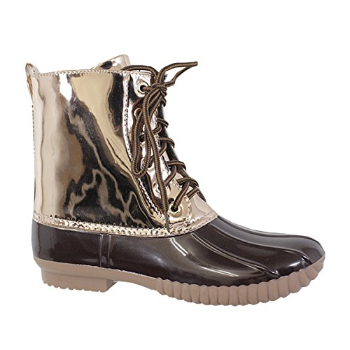 AXNY Dylan Womens Lace Up Two Tone Combat Style Calf Rain Duck Boots Metallic Brown qvgdI87Ak4