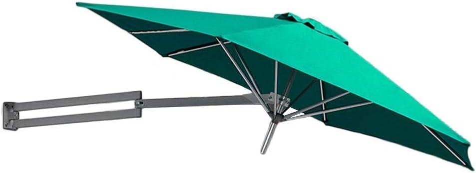 Parasols Green Wall-Mounted with Metal Pole - Outdoor Garden Patio Wall Mount Sunshade Umbrella with Tilt Adjustment, Ø 8ft / 250cm
