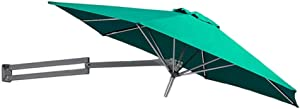 Parasols Green Wall-Mounted with Metal Pole - Outdoor Garden Patio Wall Mount Sunshade Umbrella with Tilt Adjustment, Ø 8ft / 250cm