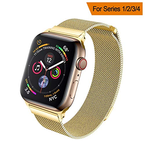 Buckle Gold Mesh (HILIMNY Compatible for Apple Watch Band 38mm 40mm 42mm 44mm, Stainless Steel Mesh Milanese Sport Wristband Loop with Adjustable Magnet Clasp for iWatch Series 1/2/3/4,Gold)