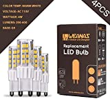 Weanas 4x G9 Base 51 LED Light Bulb Lamp 2835 SMD 4 Watt AC 110V High Voltage Ceramic Base Plastic Shell Undimmable Equivalent to 25W Halogen Track Bulb Replacement 360° Beam Angle (Warm White)