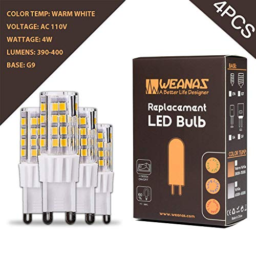 Weanas 4x G9 Base 51 LED Light Bulb Lamp 2835 SMD 4 Watt AC 110V High Voltage Ceramic Base Plastic Shell Undimmable Equivalent to 25W Halogen Track Bulb Replacement 360° Beam Angle (Warm White) by Weanas
