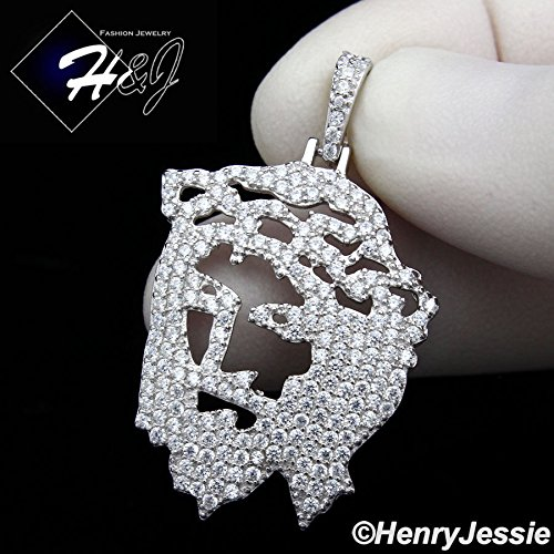 MEN_925_STERLING_SILVER_LAB_DIAMOND_ICED_OUT_BLING_JESUS_FACE_CHARM_PENDANTP163