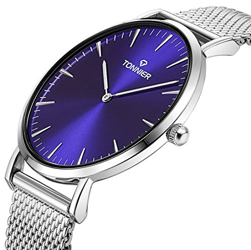 Tonnier Sllver Slim Stainless Steel Mesh Strap Mens Watch Quartz Watch for Men Blue Watch Face