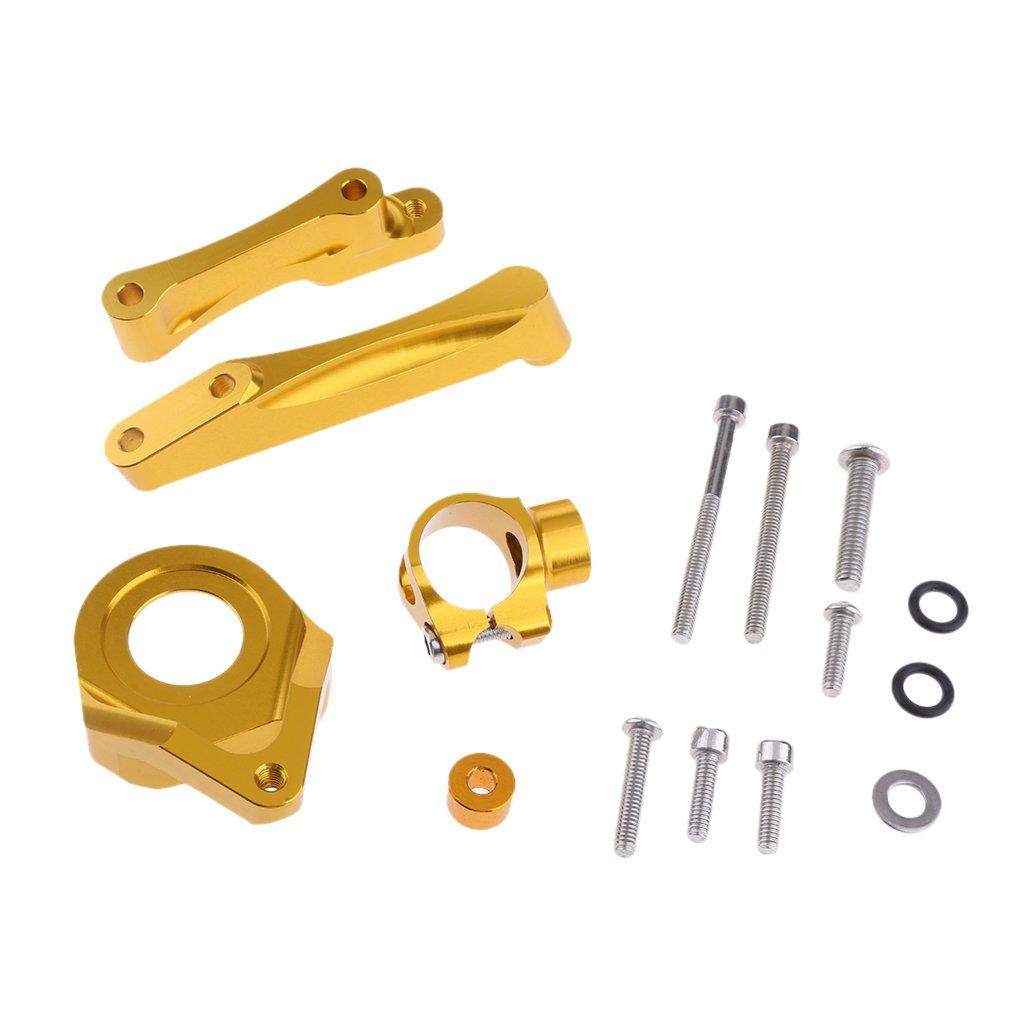 Homyl Adjustable CNC Motorcycle Bike Steering Damper Mounting Bracket for Daytona 675R - gold