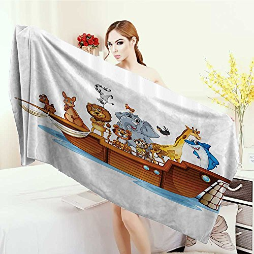 Highly Absorbent Bath Towel Religious Illustration of Many Animals Sailing in the Boat Mythical Journey Faith Giraffe Yoga Mat Towel 63''x31.5'' Multicolor by Anhounine
