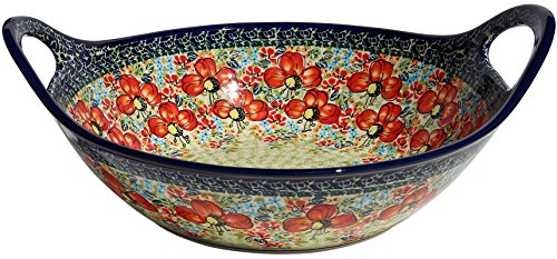 (Polish Pottery Bowl with Handles From Zaklady Ceramiczne Boleslawiec #1347-296 Art Unikat Signature Pattern, Diameter: 12