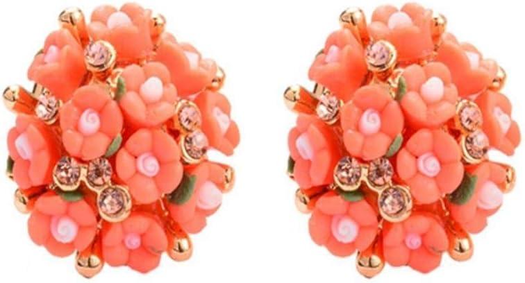 XCWXM Pendientes Pendientes De Oro con Diamantes De Imitación para Mujer En Forma De Corazón Rosa Roja Pendientes De Flores