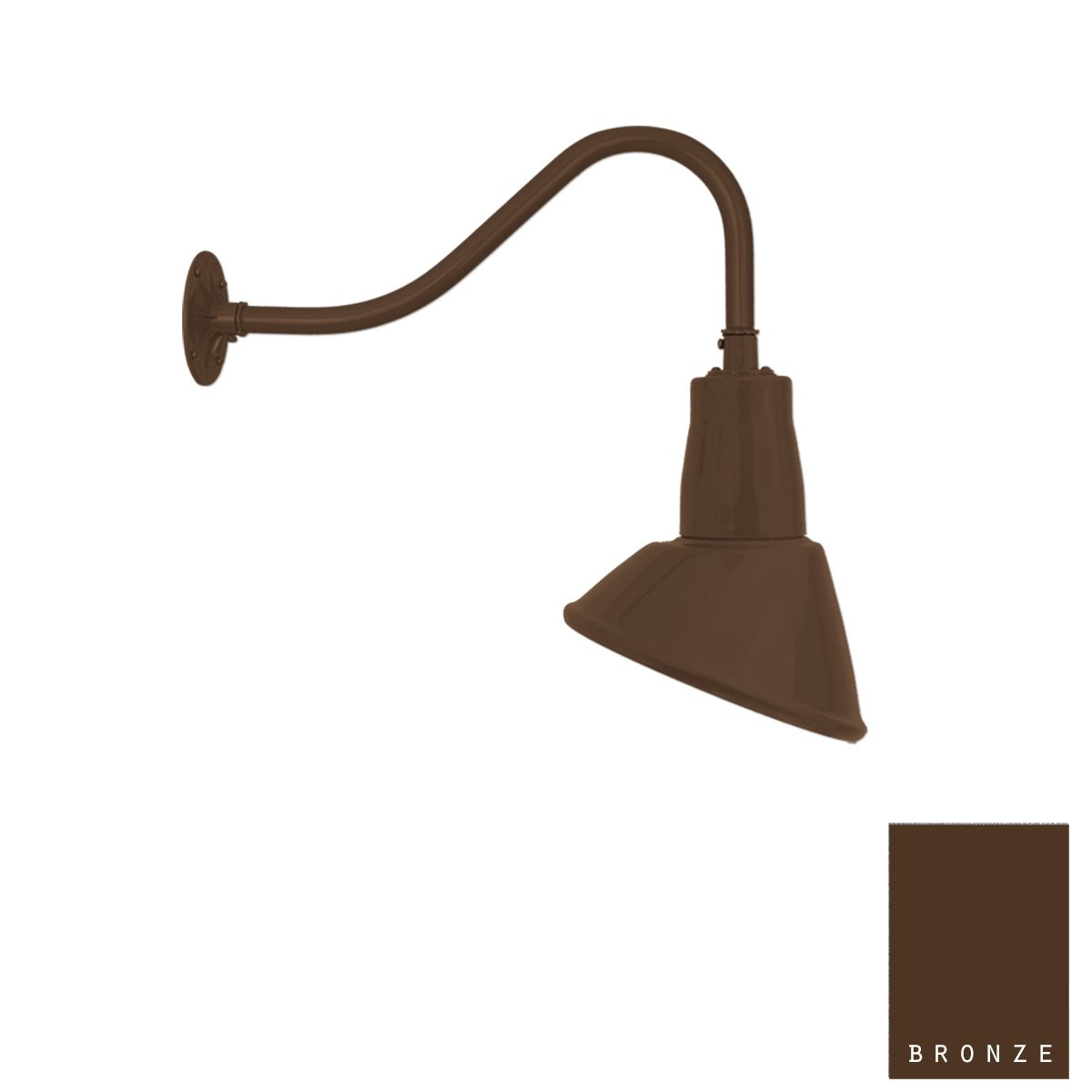 Aluminum Gooseneck Light | Classic Sign Light | 9.5'' Shade | 16'' Arm | Barn Light | 8 Colors (#20/859X) (Bronze) by Primelite Manufacturing