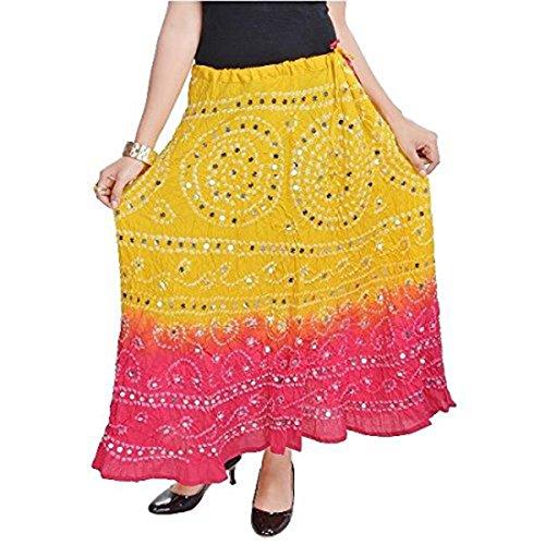 Magenta Long Indian Lemon Export SMSKT540 Skirt Women Handicrfats Yellow Cotton SCIq8