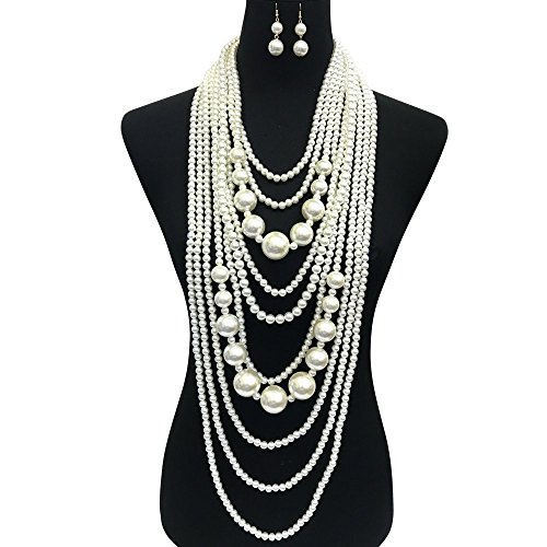 SP Sophia Collection 1920s Multi Layer Simulated Great Gatsby Bridal Pearl Necklace Strands and Earring Set in Ivory -