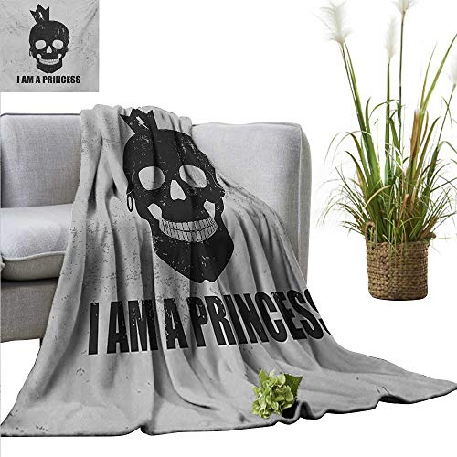 AndyTours Soft Cozy Throw Blanket,I am a Princess,Skull with a Crown Skeleton Halloween Theme Grunge Look,Charcoal Grey and Pale Grey,for Bed & Couch Sofa Easy Care 50