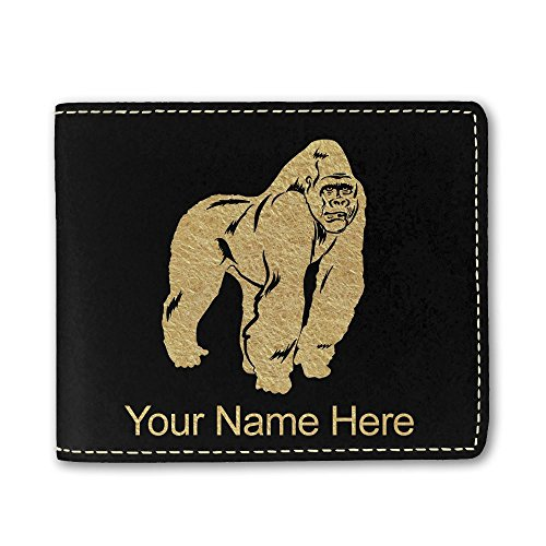 Faux Leather Wallet, Gorilla, Personalized Engraving Included (Black)