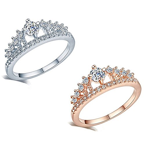 Alonea Womens Crown Tiara Rings Exquisite Princess Tiny Diamond Promise Rings for Her Size 6-9