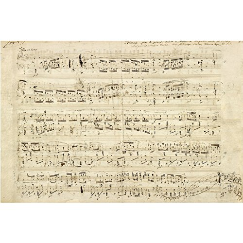 Meishe Art Canvas Poster Print Wall Art Decor Pictures Handwritten Sheet Music of Heroic Polonaise by Chopin Artwork Reproduction (23.62'' x 15.75'') (Sheet Poster Music)