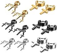 Oidea Assorted Color Stainless Steel Hinge Huggie Hoop Cross Drop Earrings for Men Women,Hypoallergenic