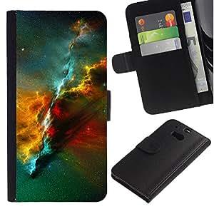 EuroTech - HTC One M8 - Vibrant Nebula Universe Space Science - Cuero PU Delgado caso Billetera cubierta Shell Armor Funda Case Cover Wallet Credit Card