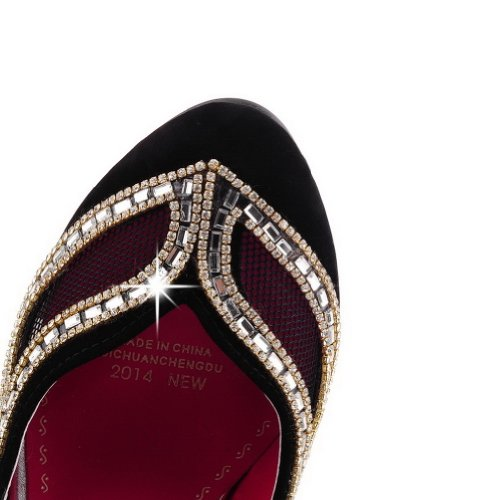 with Heel Rhinestones Unique Solid Closed Womens Black Toe VogueZone009 High Pumps PU Frosted Round wqHZ4aYxR