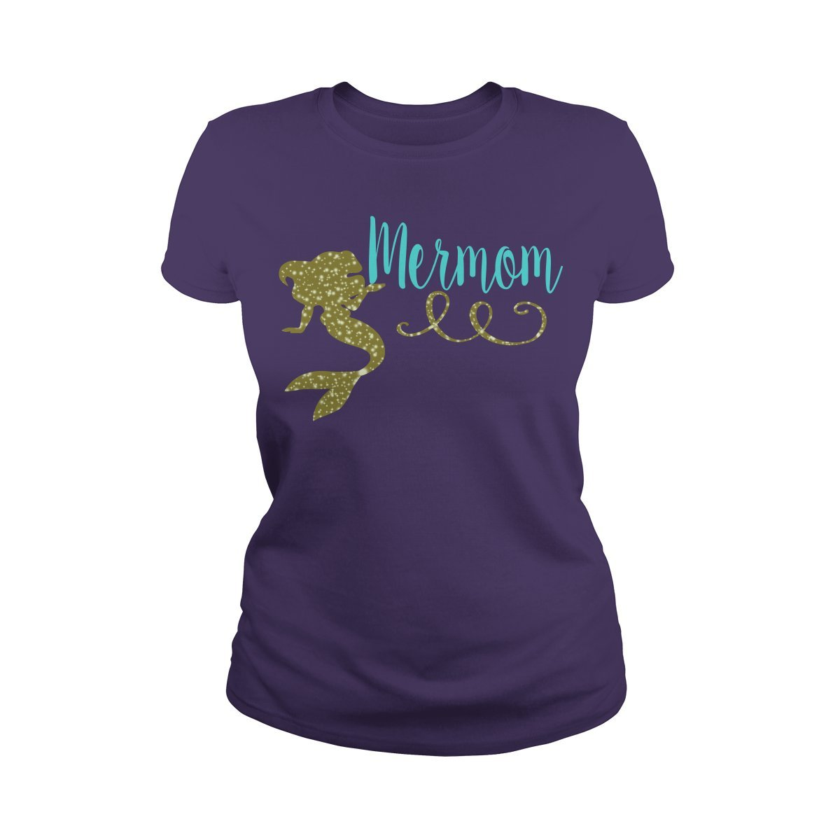Ladies Tee Purple XXLarge ShinyKT Mermom TShirt