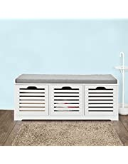 SoBuy FSR23-W,Storage Bench with 3 Drawers & Removable Seat Cushion,Shoe Cabinet,Shoe Bench,Storage Cabinet