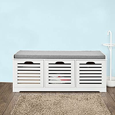 Haotian FSR23-W,White Storage Bench,Shoe Cabinet,Shoe Bench,Storage Cabinet (White) - 3 drawers can be pulled out completely as a great storage solution Comfortable seat cushion is removable. Material: Wood/MDF/ Polyester linen-like fabric/Sponge - entryway-furniture-decor, entryway-laundry-room, benches - 51DHlPlU52L. SS400  -
