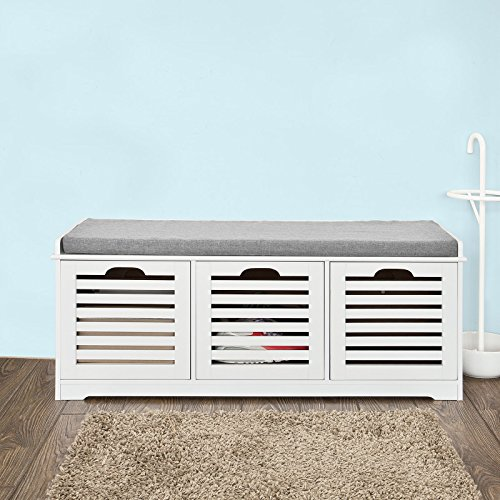 SoBuy Storage Bench with 3 Drawers & Seat Cushion, Shoe Cabinet Storage Unit Bench, ()
