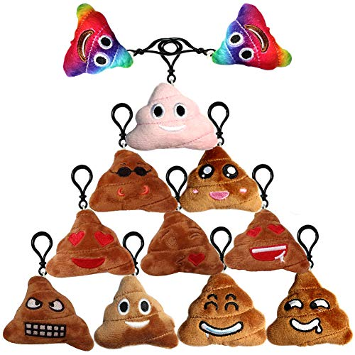 Poop Emoji Keychain Plush Toy Mini Kids' Pillow Set, Emoticon Key Chains Pendant Decoration Backpack Clip, Birthday Party Supplies Favor for Boy and Girl, Novelty Gift Student Prizes, 2.4 Inch 12 Pack -